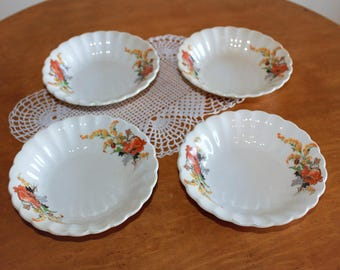 Vintage Rare Set of Four 4 Fluted Goldenrod Poppy Berry Bowls Ivory Porcelain by Sebring