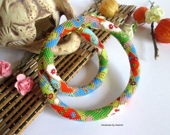 """Bead Crochet Necklace """"Summer day"""" color block summer 2016 orange green red white blue green pink evening decoration geometry made to order"""