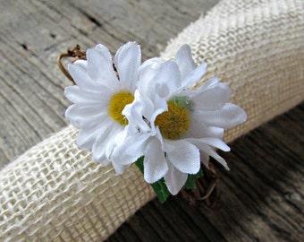 Daisy Napkin Rings, White Flower Napkin Rings, Spring Summer Napkin Ring, Rustic Grapevine Napkin Ring, Wedding Party Table Decor Decoration