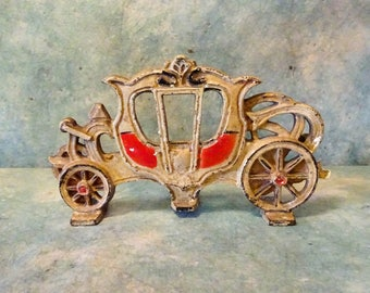 Delightfully Vintage Cast Iron Princess Cinderella's Carriage Doorstop