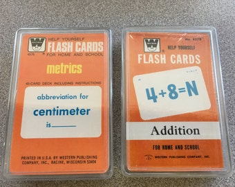 Lot of 2 WHITMAN flash cards ADDITION and METRICS