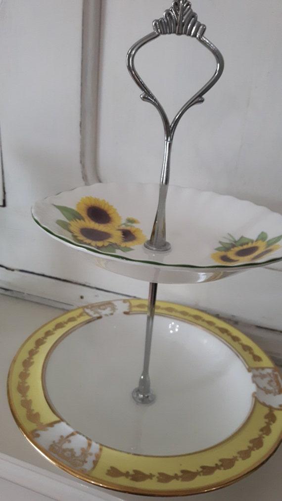 Hand made vintage china cake stand, trinket stand, beautiful sunflower design