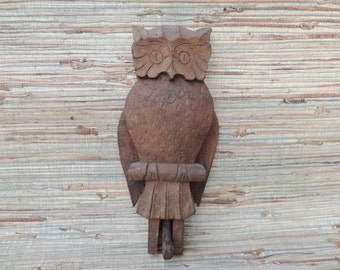 Wooden Owl Folk Art Carving, Flaps Wings When Lever is Pulled