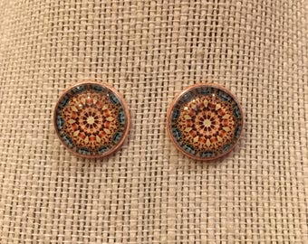 16mm Tan&LightBlue Kaleidoscope Stud Earrings