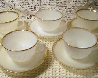 Vintage Fire King Gold Trimmed White Milk Glass Swirl Cups And Saucers - Golden Anniversary - Set Of 5