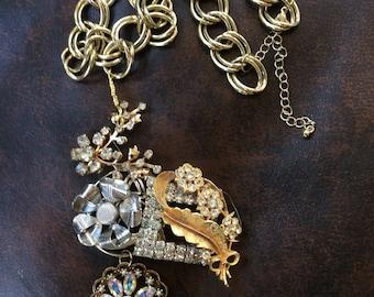 Vintage Rhinestone Assemblage Necklace