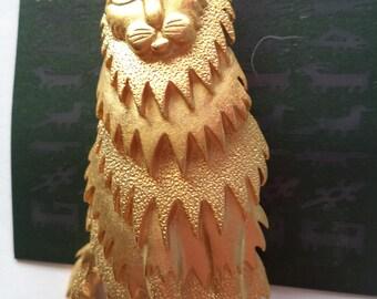 Vintage Signed JJ  Goldtone Long Haired Cat Brooch/Pin  Rare