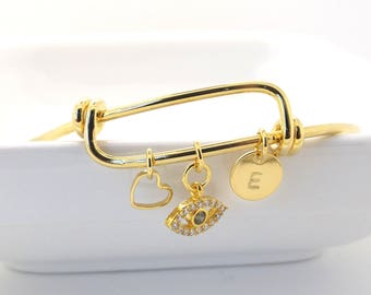 Gold evil eye and initial adjustable bangle•evil eye bangle bracelet•initial bangle •bridesmaid gift•wedding lucky eye bangle •evil eye gold