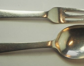 Antique UK England silver condiment dessert spoon and fork set