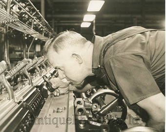 Worker by textile mill antique photo Van Raalte Co NJ