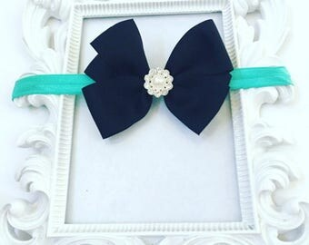 Girls 3 Inch Handmade Black Hair bow With Rhinestone, Turquoise Girl's Custom Hair bows, Custom Turquoise Headbands/Bows For Girls,
