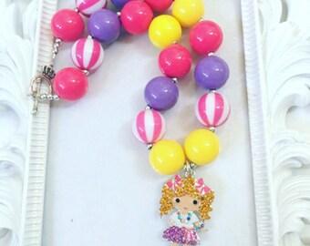 Girl Pendants Chunky Necklaces, Girl Rhinestone Chunky Necklaces, Gumball Necklaces For Girls, Girls necklaces, A Girl Rhinestone Pendant