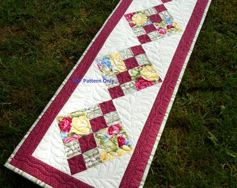 PDF Table Runner Quilt Pattern, Digital downloadable pattern, quilted table runner, learn to quilt, Jewel of the Lakes, Sew Ever After quilt