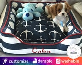 Coastal Dog Bed or Cat Bed  | Anchors, Stripes, Whales, Beach, Navy, White, Red, Sailor | Washable and High Quality!