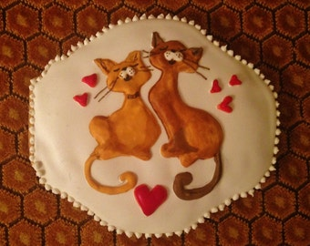 Hungarian gingerbread Valentine's Day Cookie.Kittens in love