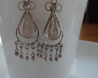 Sterling silver chandelier earrings - boho hippie and beautiful vintage