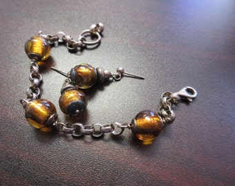 Sterling SIlver Glass Bead Bracelet and Earrings