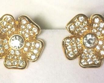 Joan Rivers Earrings - Crystal Flowers Clip On - S2013