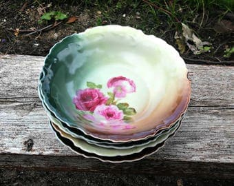 Five Antique ZS and Co Berry Bowls Marseille Series Pattern 7617 Red Pink Roses Brown Green Matte Porcelain Scalloped Rim Luster Glaze