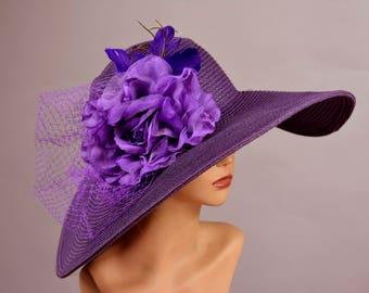 Purple Wedding Hat Kentucky Derby Hat Bridal Coctail Hat Couture Bridal Hat