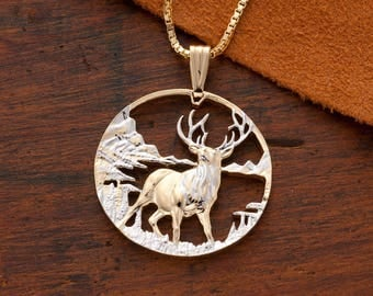 "Elk Pendant & Necklace Wildlife Jewelry, Hand Cut Medallion plated in 14 Karat Gold and Rhodium, 1 1/4 "" in Diameter, ( # 609 )"