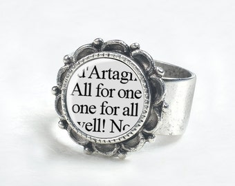 Gifts for Friends - Three Musketeers Friendship Ring - Book Jewelry - Best Friend Gift - Friendship Gift - Friendship Quotes