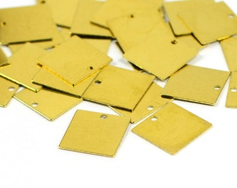 25 Pcs. Raw Brass 13x13 mm Square Blanks Findings ,0.50 mm Thick