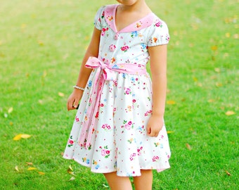 New! Audrey Retro Style GIRL & DOLL Dress Sz 6-12m to 11/12  PDF Sewing Pattern
