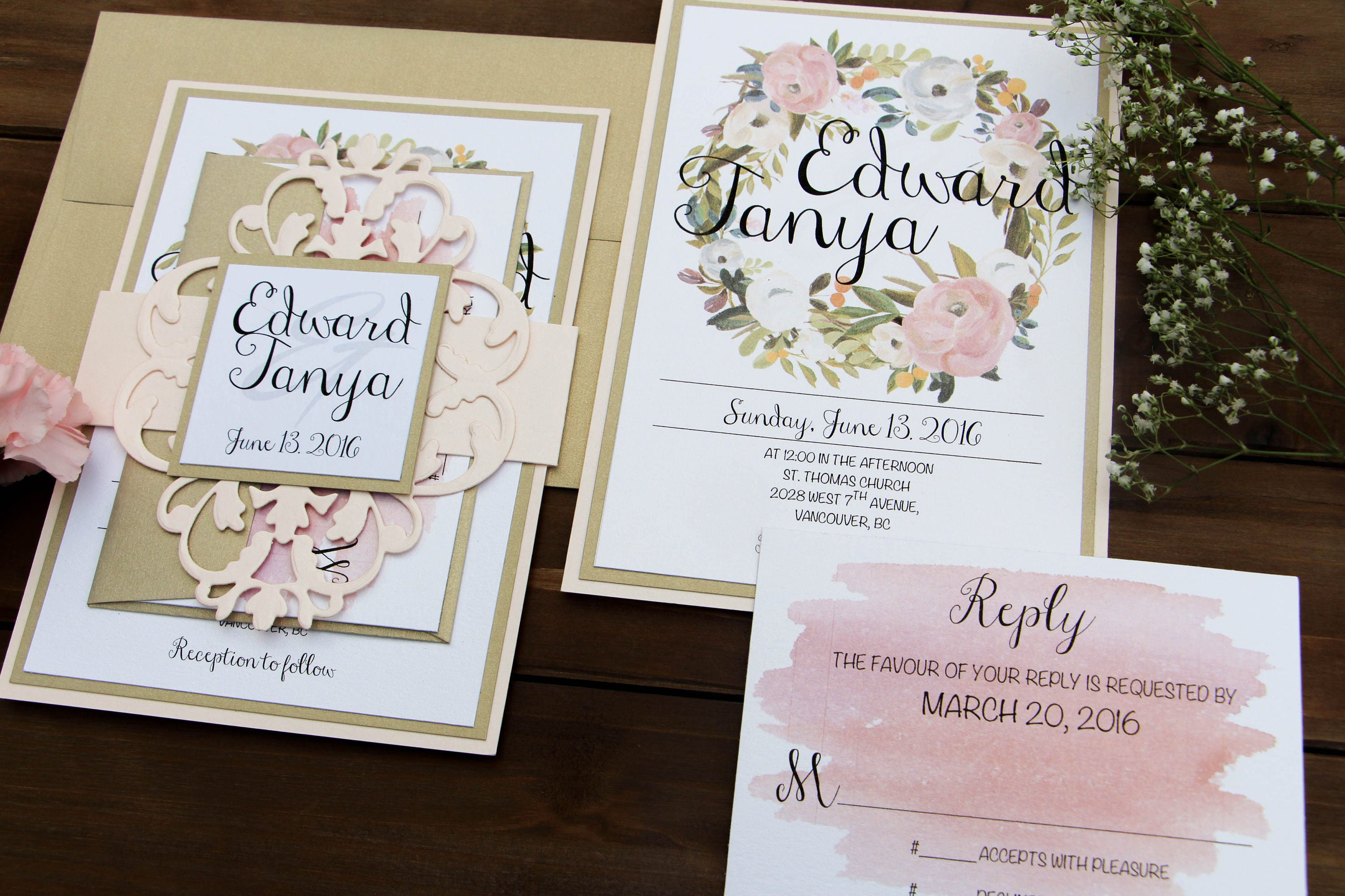 Blush, Gold, White, Pink Wedding Invitation with Cut-Out Belly Band ...