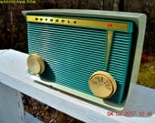 BLUETOOTH MP3 READY - Teal and Light Green Retro Jetsons 1959 Motorola Model A16G-29 Tube AM Clock Radio Totally Restored!