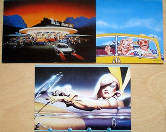 3 Vintage Paper Moon Retro Notecards Graphics Collectibles Blank 1970s Note Cards - Marlene, Convertible, Mels Drive In