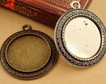 25mm Vintage Round Pendant Setting, Pendant Blank, Glass Brass Pendant
