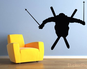 "Skier Ski Jumper Vinyl Wall Decal for Home Decor 59""x48"""