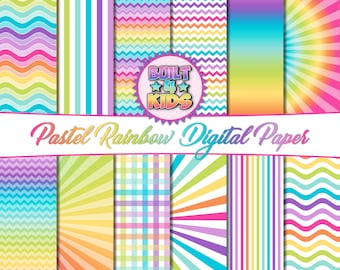 Pastel Rainbow Digital Paper Pack/ 12 Pack/ Chevron/ Starburst/ Waves/ Stripes/ Plaid/ Gradient/ Scrapbook/ Crafts/ Graphics
