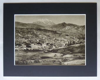 1920s Antique Bolivian Print, Available Framed, La Paz Art, Bolivia Gift, Aymara Decor, Mount Illimani Picture, Cordillera Real Mountain Art