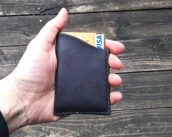 Leather card holder / credit card, visa, mastercard, Handmade, hand stitched Black