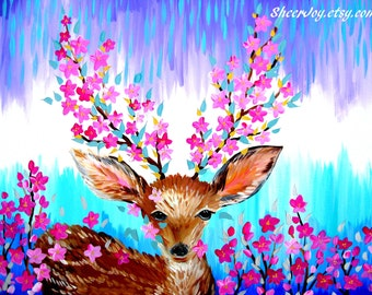 """deer art, deer painting, fawn painting, fawn, fawns, deer gift, deer gifts, gift,on a canvas,canvas wall art, canvas painting, 29.5"""" x 23.5"""""""