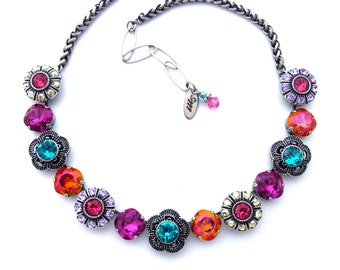 DAZZLING BLOOMS, Swarovski Crystal Flower Necklace, 12mm Cushion Cut, Astral Pink, Fuchsia, Blue, Colorful Statement Piece, Siggy Jewelry