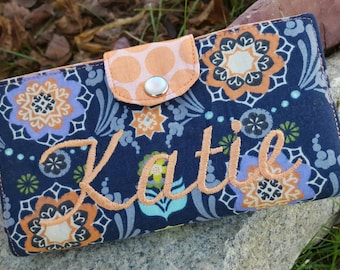 Personalized Checkbook Cover, Navy & Coral Paisley Checkbook Cover