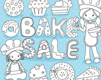 80% OFF SALE Christmas bake sale digital stamp commercial use, vector graphics, digital stamp, christmas stamps - DS1026