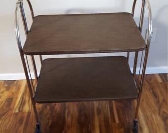 Vintage Folding Table On Wheels Bar Cart Versa Table Folding Metal TV Tray