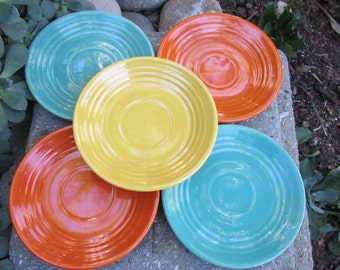 Bauer Pottery California Monterey Ringware saucers 1930s set of 5 Multi colors blue orange yellow