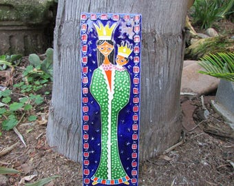 Ceramic Plaque Italy Queen with child wearing Crowns 1974