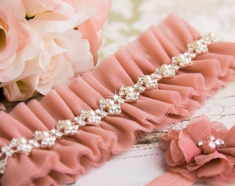 Wedding Garter Set, Dusty Pink Bridal Garter Set, Dusty Pink Tulle Garter, Tulle Wedding Garter, Pearl Garter, Rhinestone Wedding Garter