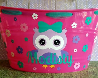 Owl themed Easter Basket, Plastic Storage bin for Toys, Personalized