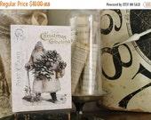 BLACK FRIDAY SALE Vintage Santa Christmas  Wood Sign Farmhouse Decor Post Card Christmas Book Page Wall Art Print
