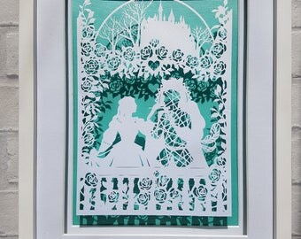 Beauty and The Beast, fairy tale, papercut, wall art, wall hanging, Bramble Crafts, papercutting, floating cut, handmade frame