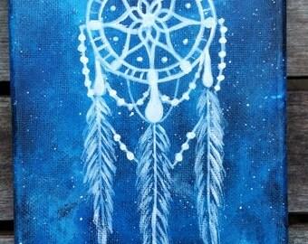 Dreamcatcher Painting | Dreamcatcher Canvas | Native American Art | Blue Space Painting | Blue Galaxy Canvas | Blue Space Canvas