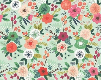 Cotton Fabric On Trend in Mint by Jen Allyson for My Mind's Eye Riley Blake Fabrics Mint Floral