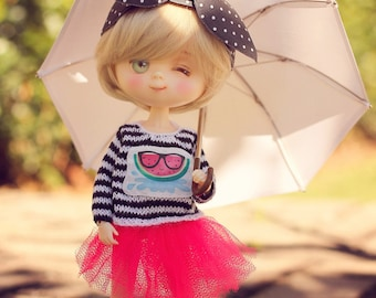 Petite.Doll hand-knitting watermelon sweater for Blythe